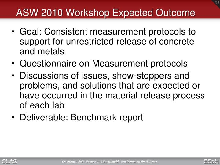 ASW 2010 Workshop Expected Outcome