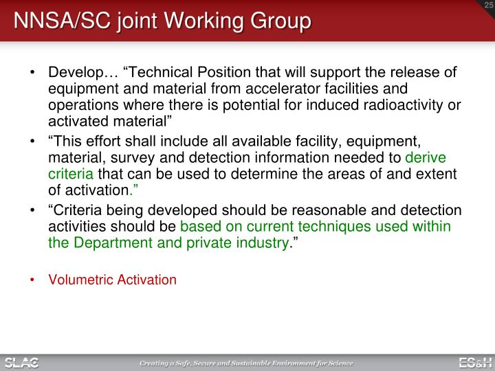 NNSA/SC joint Working Group