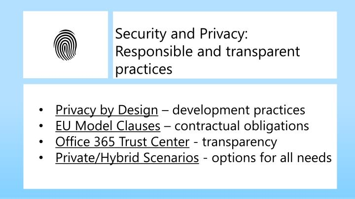 Security and Privacy: