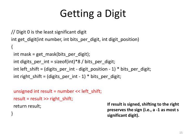 Getting a Digit