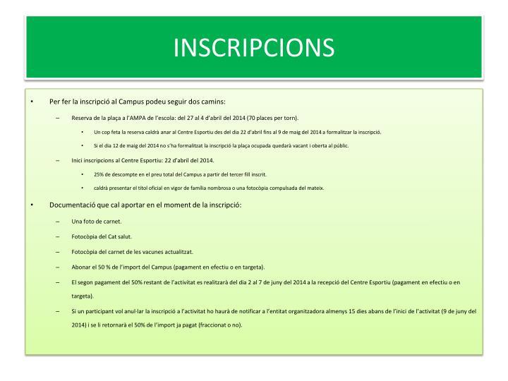 INSCRIPCIONS