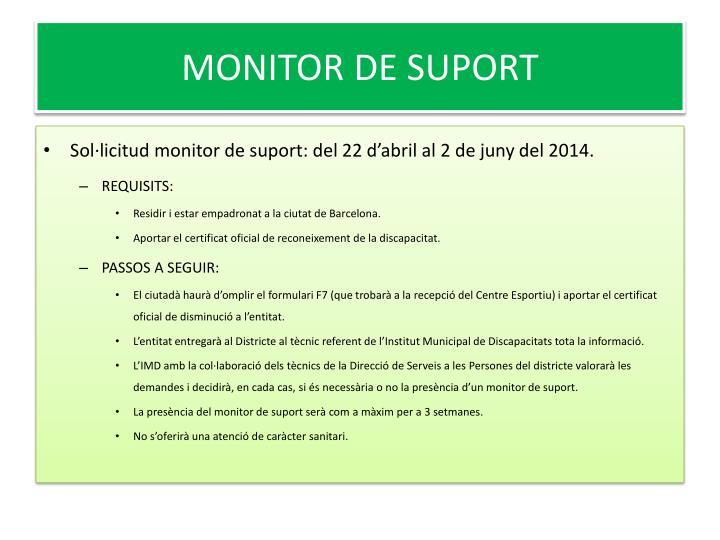 MONITOR DE SUPORT