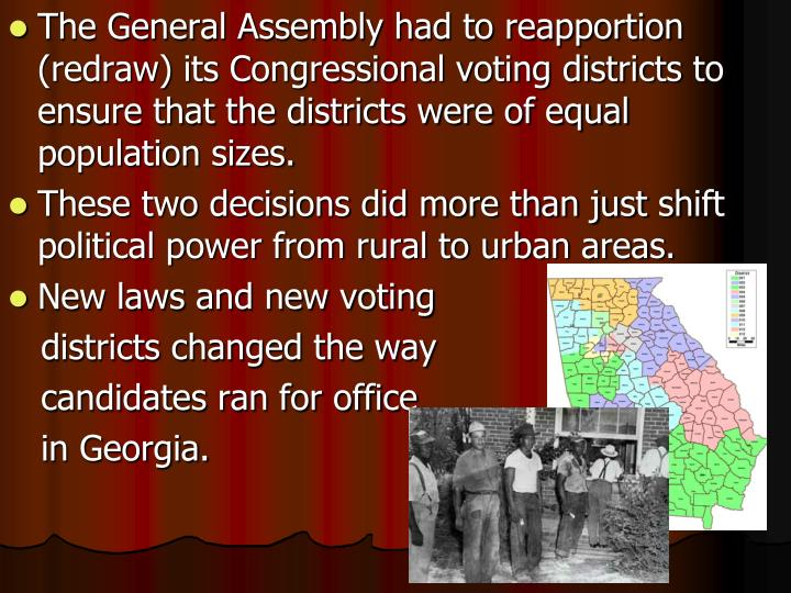 The General Assembly had to reapportion (redraw) its Congressional voting districts to ensure that the districts were of equal population sizes.