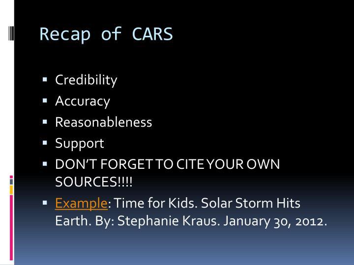 Recap of CARS