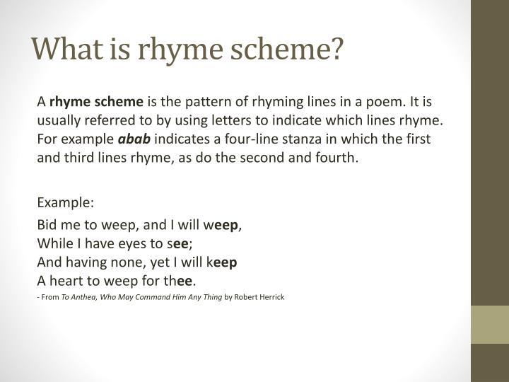 PPT - Rhyme Scheme and Stanzas PowerPoint Presentation - ID:1895076