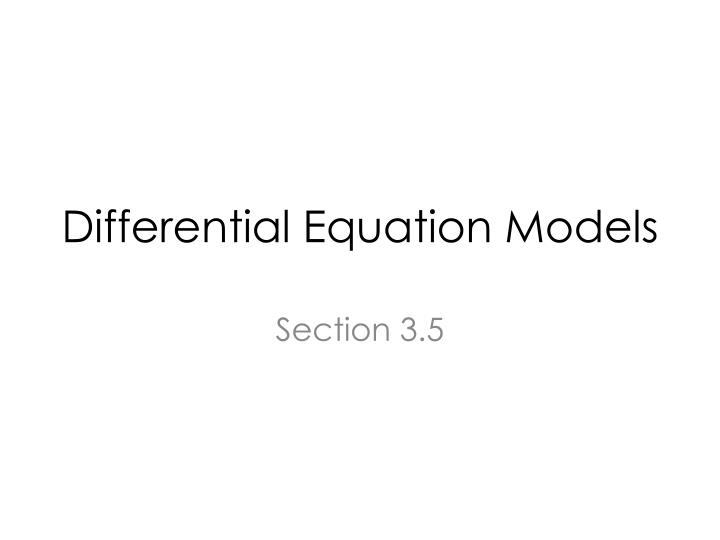 differential equation models n.