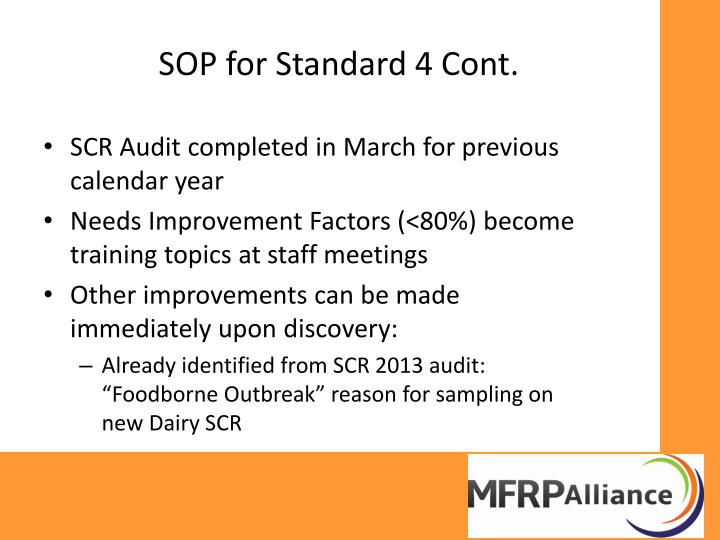 SOP for Standard 4 Cont.