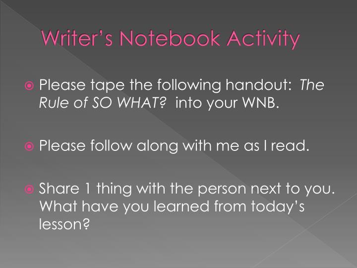 Writer's Notebook Activity