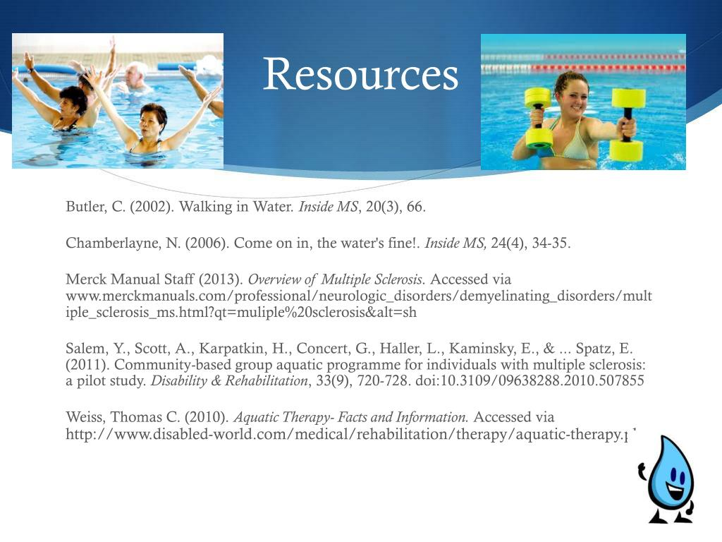 ms aquatic therapy sclerosis multiple ppt powerpoint presentation