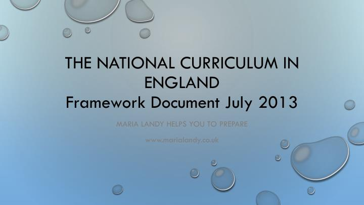 the national curriculum in england framework document july 2013 n.