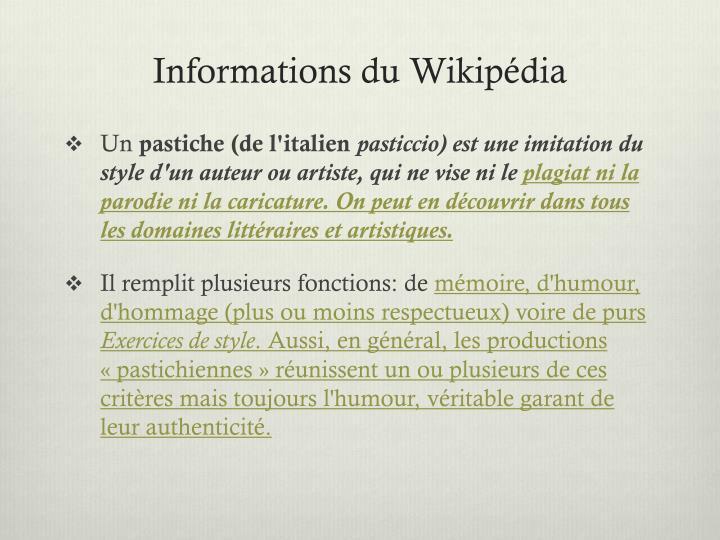 Informations du wikip dia