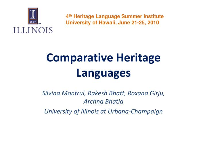 comparative heritage languages n.