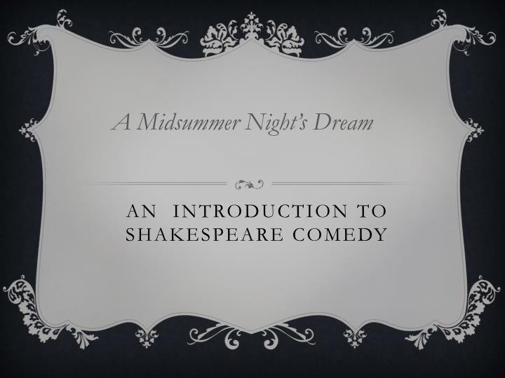 an introduction to shakespeare comedy n.