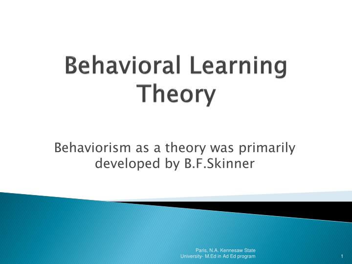 behavioral learning theory n.