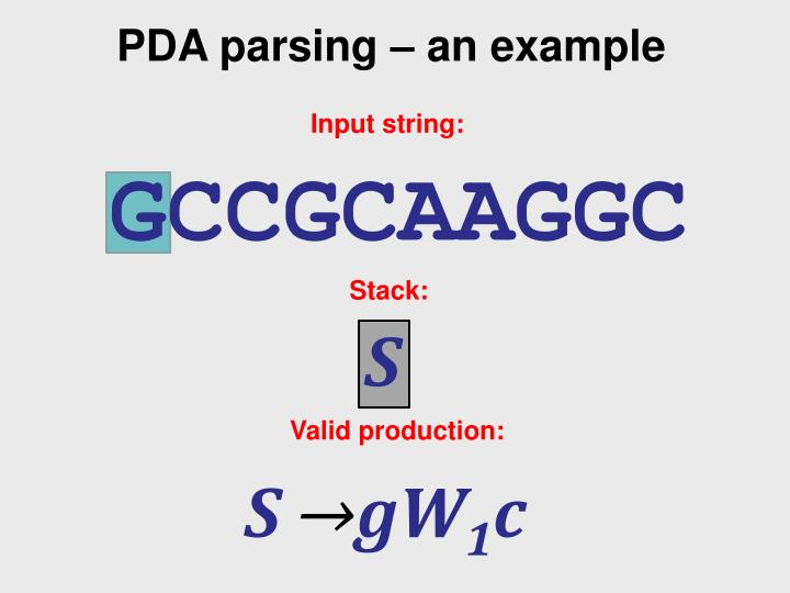 PDA parsing – an example