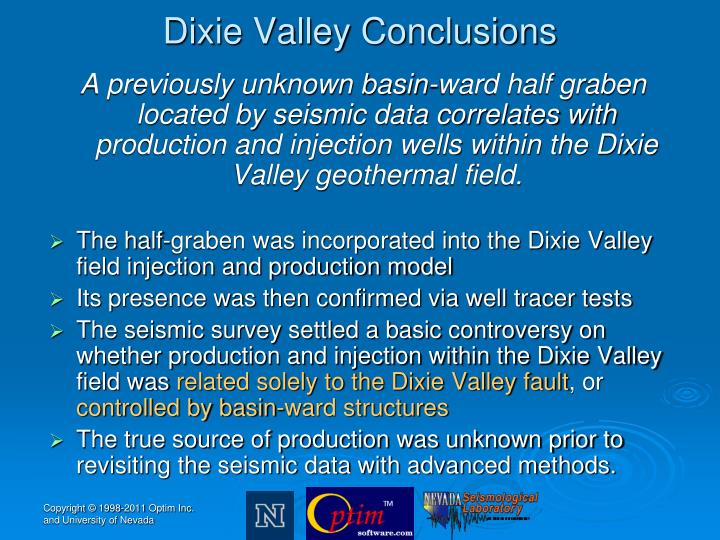 Dixie Valley Conclusions