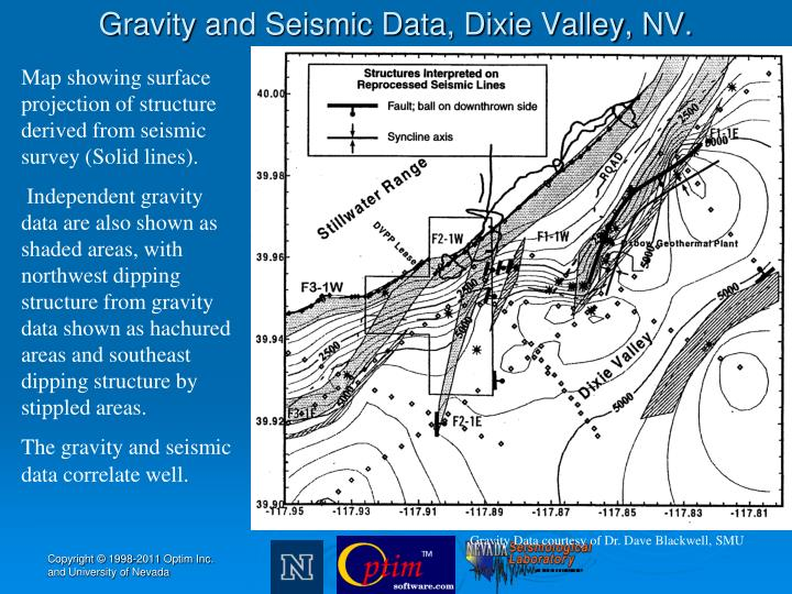 Gravity and Seismic Data, Dixie Valley, NV.
