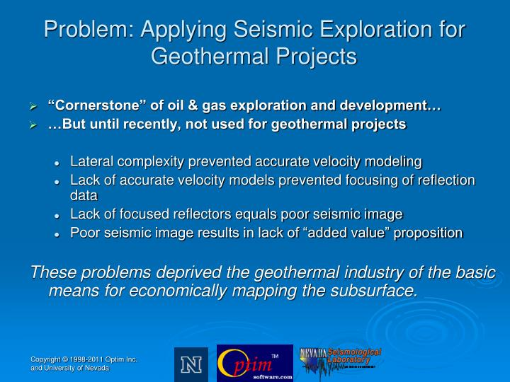 Problem applying seismic exploration for geothermal projects