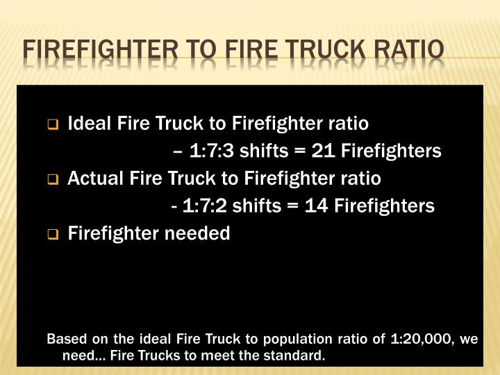 Ideal Fire Truck to Firefighter ratio