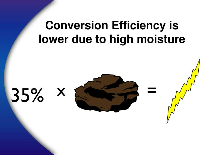 Conversion Efficiency is lower due to high moisture