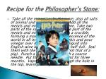 recipe for the philosopher s stone