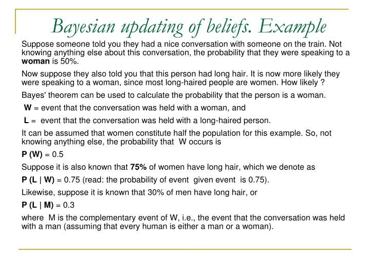 Bayesian updating of beliefs. Example