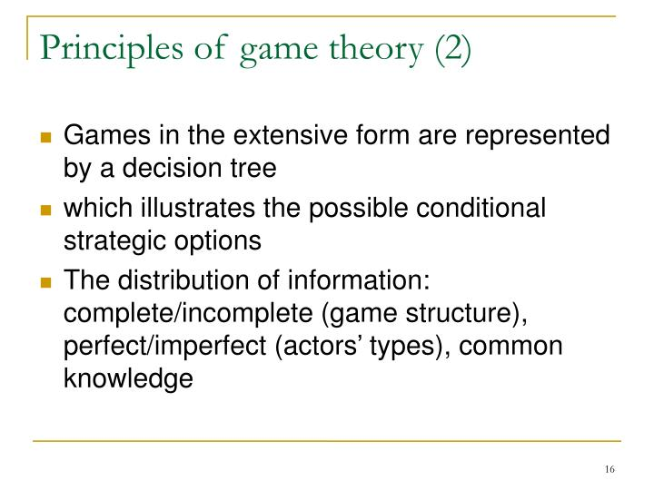 Principles of game theory (2)