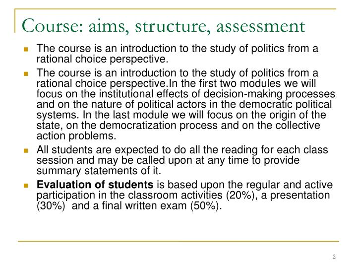 Course: aims, structure, assessment
