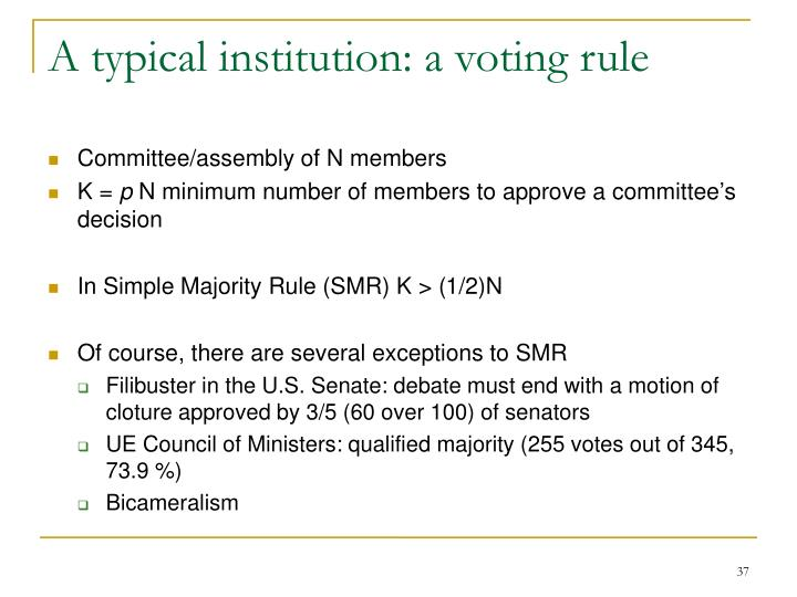 A typical institution: a voting rule