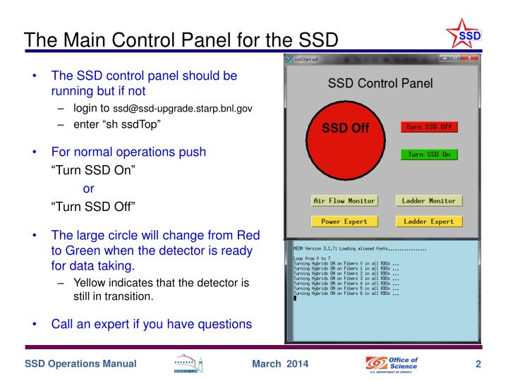 The main control panel for the ssd