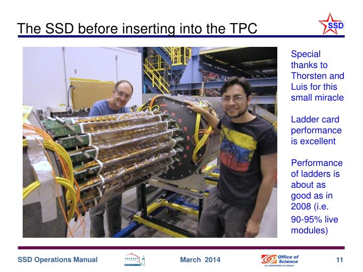 The SSD before inserting into the TPC