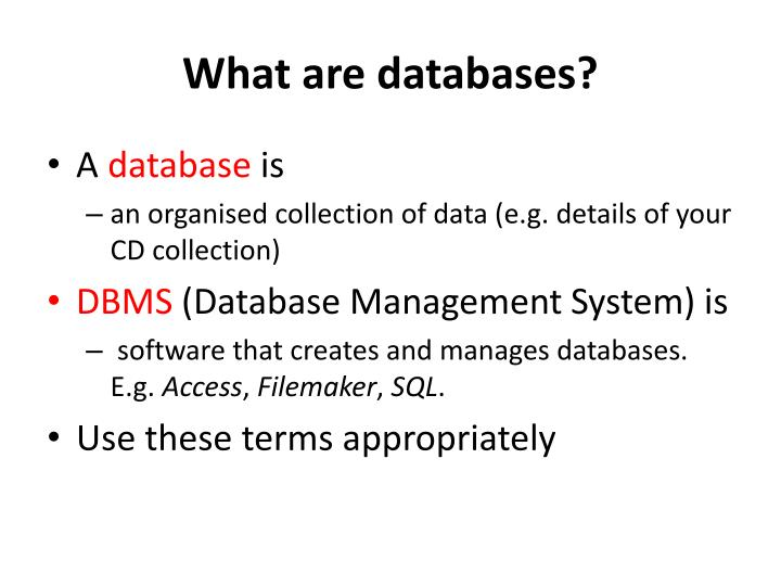 What are databases