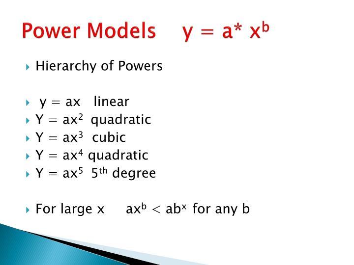 Power Models    y = a* x