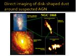 direct imaging of disk shaped dust around suspected agn