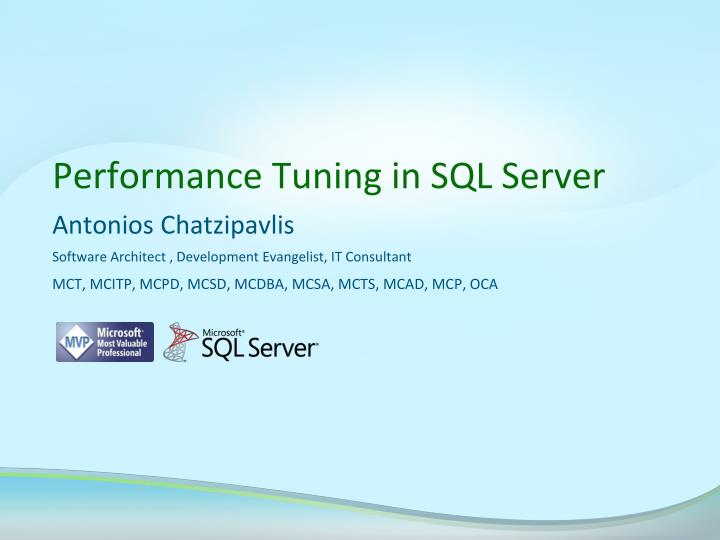 performance tuning in sql server n.