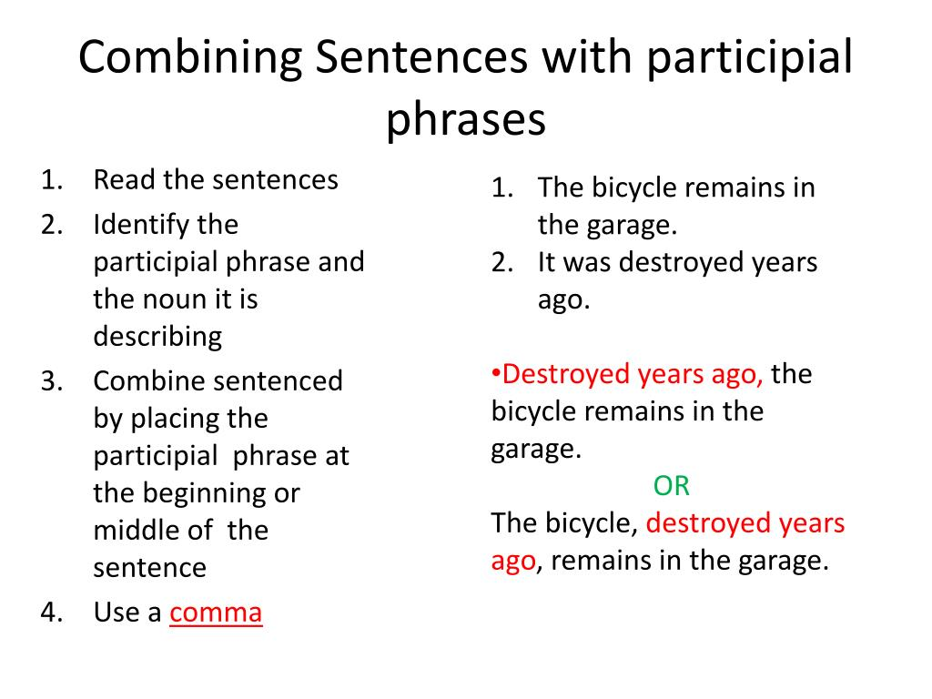 PPT - Learning Objective : combine short sentences with