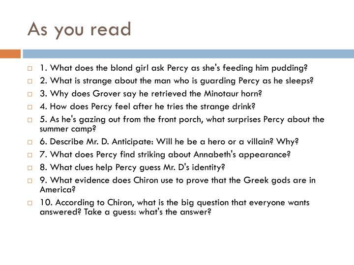As you read