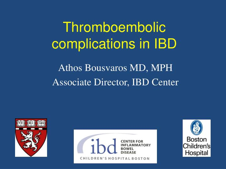 thromboembolic complications in ibd n.
