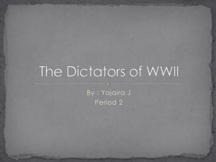 the dictators of wwii n.