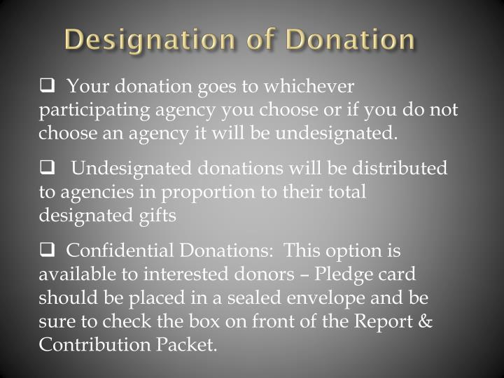 Designation of Donation