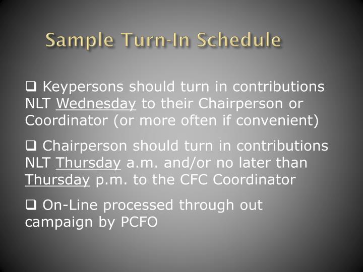 Sample Turn-In Schedule