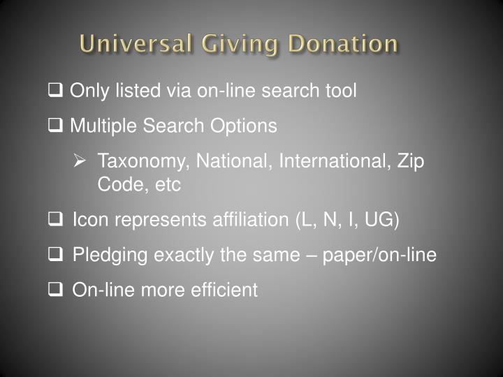 Universal Giving Donation