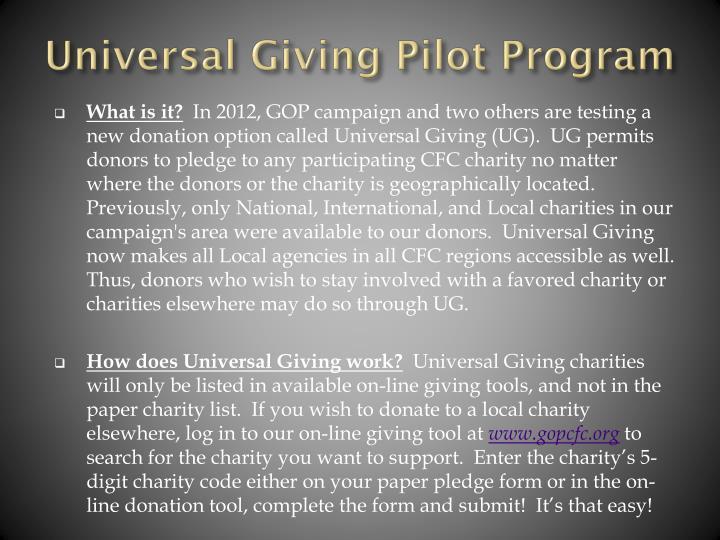 Universal Giving Pilot Program