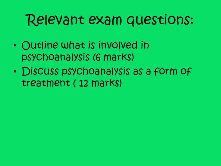 Relevant exam questions