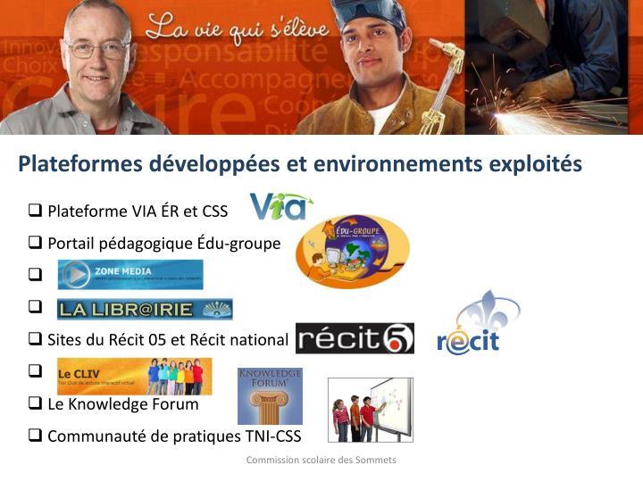 Plateformes développées et environnements exploités