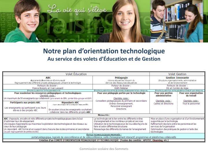 Notre plan d'orientation technologique