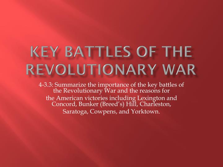 key battles of the revolutionary war n.