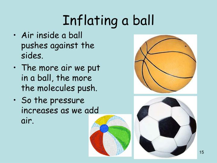 Air inside a ball pushes against the sides.