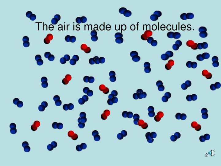 The air is made up of molecules.