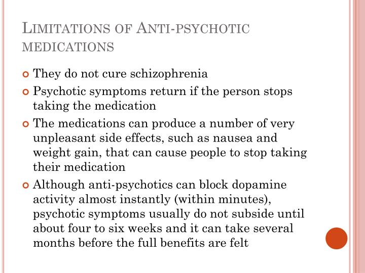 Limitations of Anti-psychotic